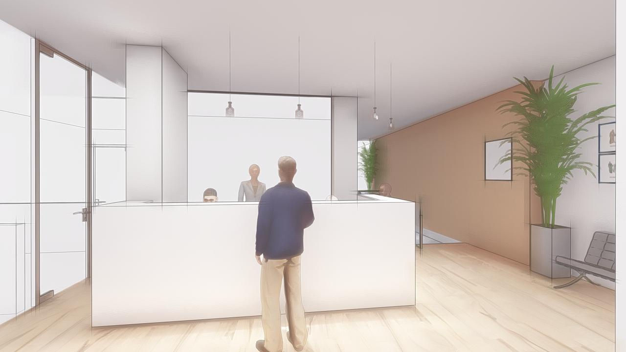 Diseño de de mostrador de recepción en Krion para clinica dental en Jerez