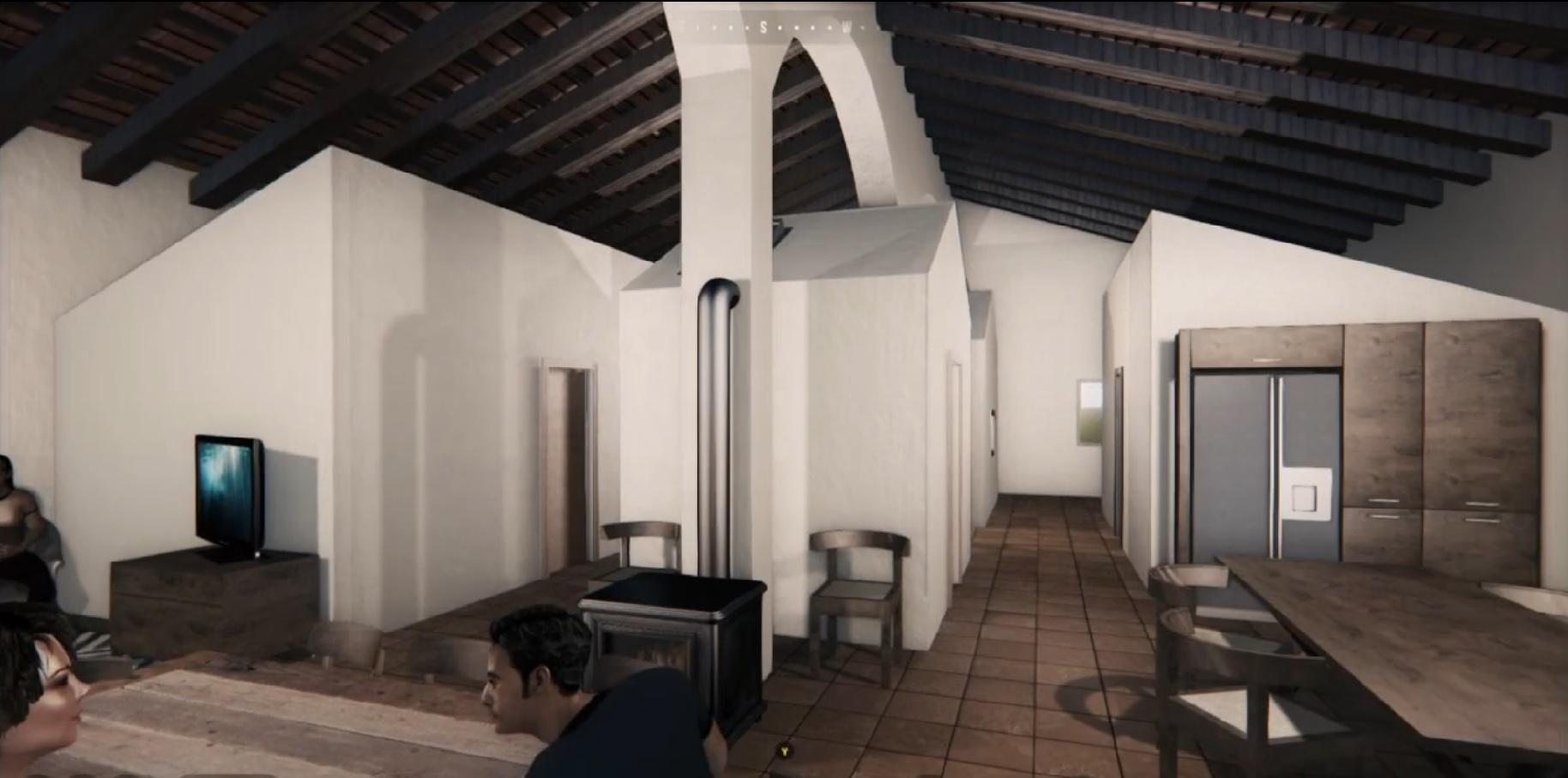 Animación 3d para visualización de propuesta de reforma de bodega a bar restaurante y Hostel