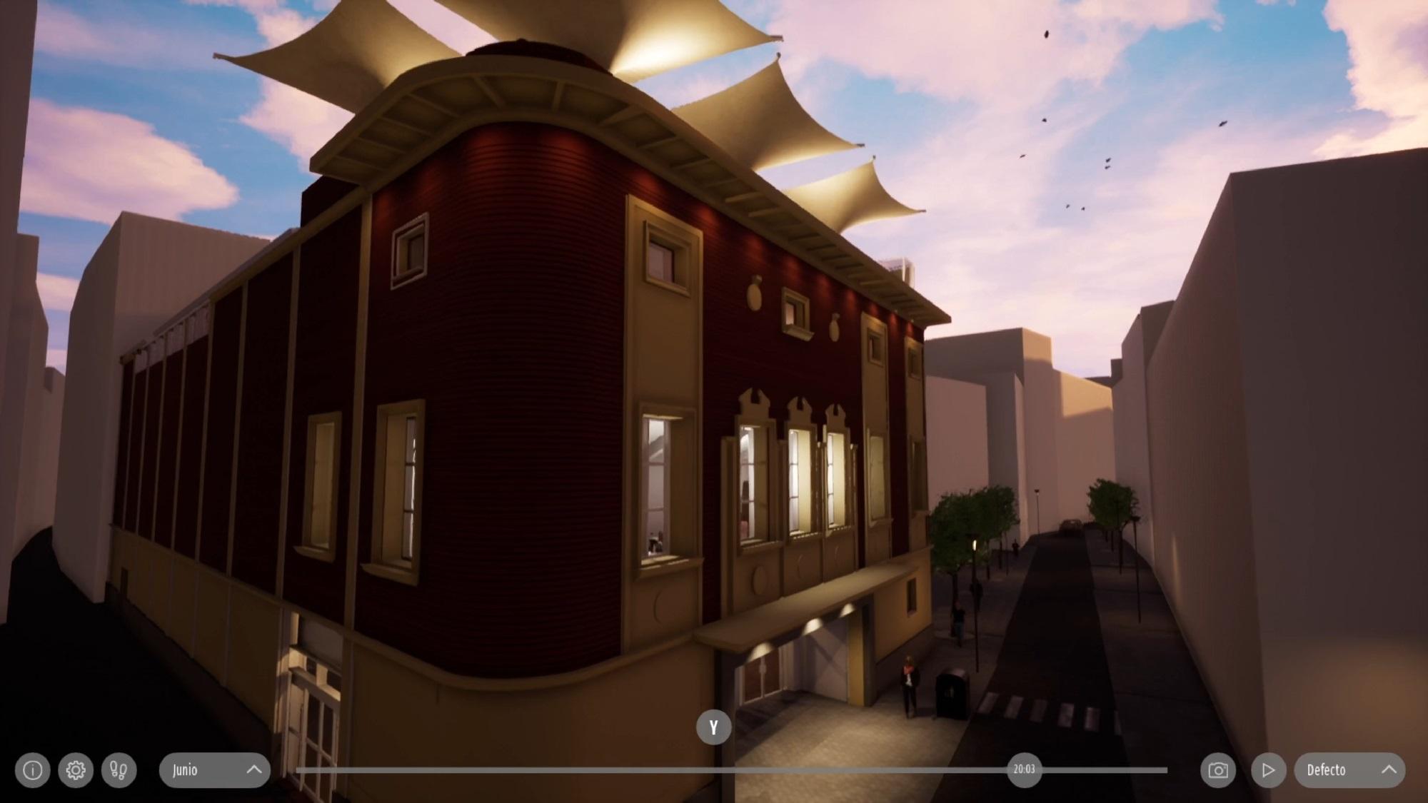 Animación 3d para visualización de propuesta de reforma para un viejo cine en Jerez