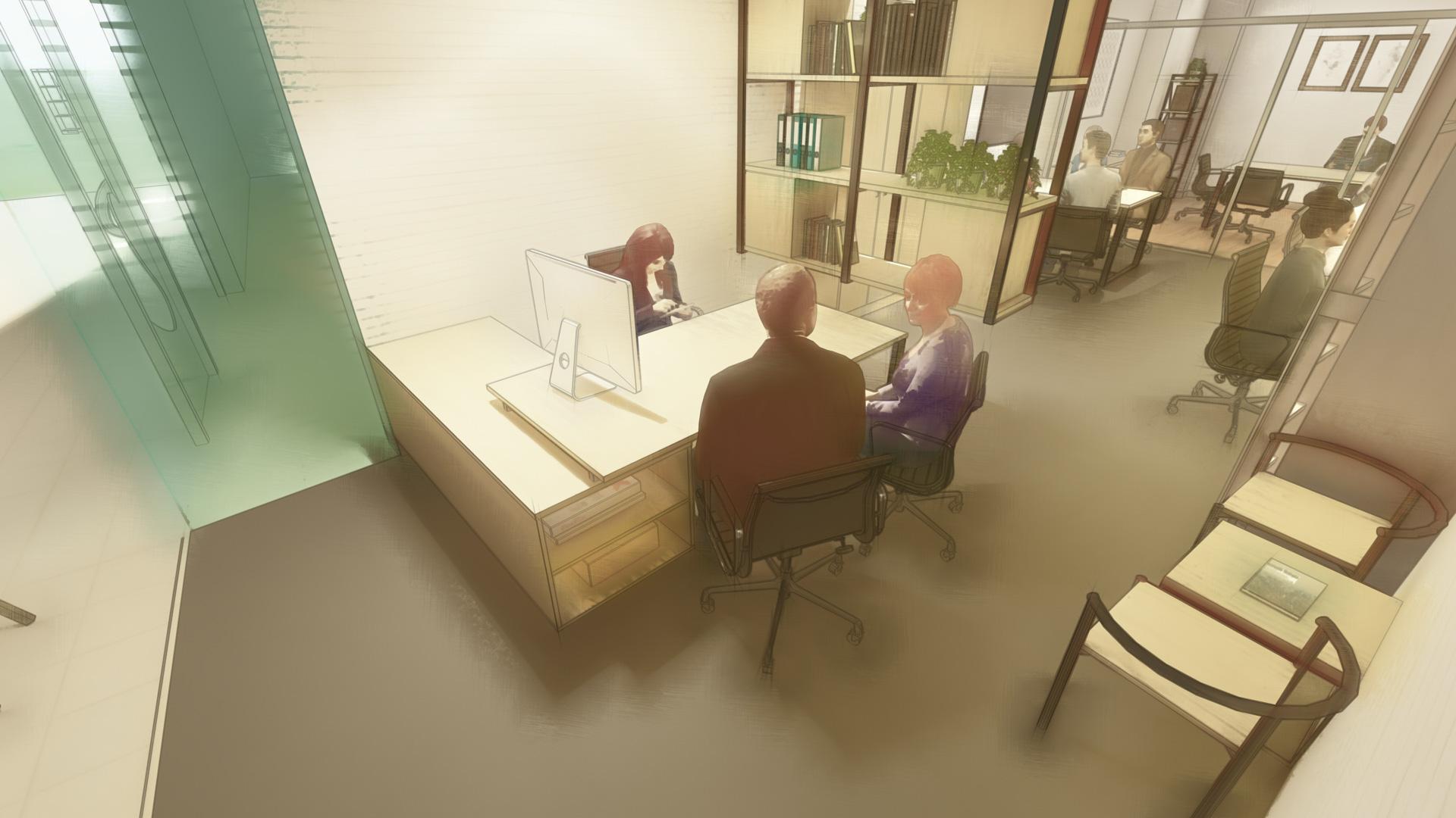 Diseño de interior y de mobiliario estilo industrial para oficina en Jerez